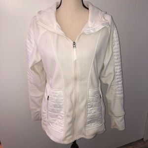 Kyodan white zip front fleece hoodie Size L